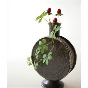 花瓶 花びん 陶器 花器 おしゃれ 一輪挿し 和風 瀬戸焼 黒釉 太鼓型花入れ|gigiliving|02