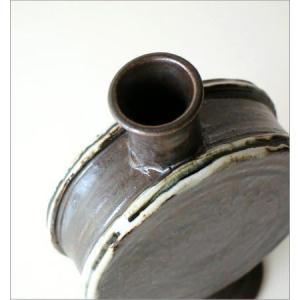 花瓶 花びん 陶器 花器 おしゃれ 一輪挿し 和風 瀬戸焼 黒釉 太鼓型花入れ|gigiliving|03