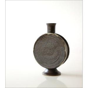 花瓶 花びん 陶器 花器 おしゃれ 一輪挿し 和風 瀬戸焼 黒釉 太鼓型花入れ|gigiliving|04
