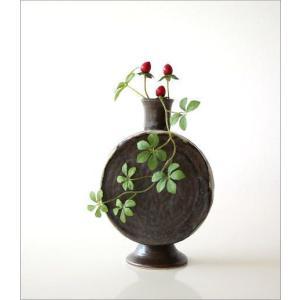 花瓶 花びん 陶器 花器 おしゃれ 一輪挿し 和風 瀬戸焼 黒釉 太鼓型花入れ|gigiliving|05