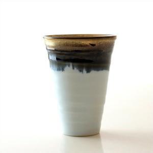 ビアカップ ビールカップ 陶器 有田焼 日本製 墨流し&ゴールドビアカップ|gigiliving
