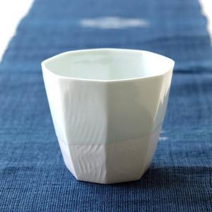 焼酎グラス ロックカップ 白 陶器 有田焼 酒器 日本酒 焼酎 冷酒 焼酎カップ 焼き物 日本製 青白磁釉流し 八角ロック|gigiliving