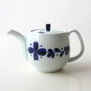 ティーポット 陶器 日本製 有田焼 白 おしゃれ 急須 きゅうす かわいい 染付風花 ポット|gigiliving