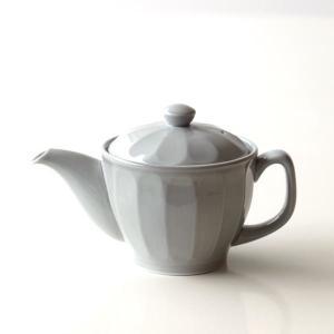 ティーポット おしゃれ かわいい グレー 陶器 茶こし付き 日本製 有田焼 色釉面取りポット グレー|gigiliving