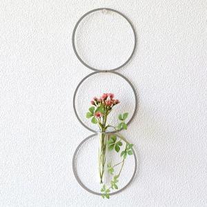 フラワーベース 一輪挿し 壁掛け インテリア 花瓶 花びん ガラス管 試験管 モダン シンプル 壁飾り 壁面 ディスプレイ アルミとガラスのベース リング gigiliving