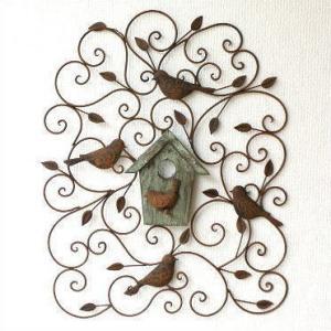 アイアン壁飾り 壁掛けインテリア リーフ 鳥 アイアン雑貨 ウォールデコレーション アイアンの壁飾り ウッドバードハウス|gigiliving