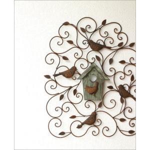 アイアン壁飾り 壁掛けインテリア リーフ 鳥 アイアン雑貨 ウォールデコレーション アイアンの壁飾り ウッドバードハウス|gigiliving|02