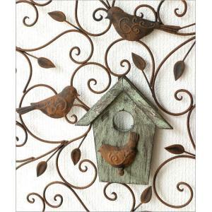 アイアン壁飾り 壁掛けインテリア リーフ 鳥 アイアン雑貨 ウォールデコレーション アイアンの壁飾り ウッドバードハウス|gigiliving|03