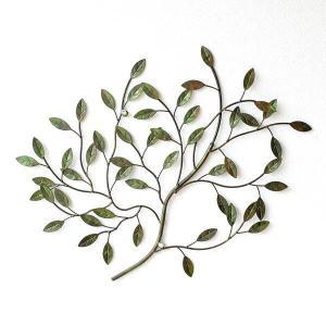 壁飾り アイアン 壁掛け インテリア アンティーク風 おしゃれ リーフ ナチュラル 植物 木 枝 ウォールデコ アートパネル アイアンの壁飾り グリーンブランチ gigiliving