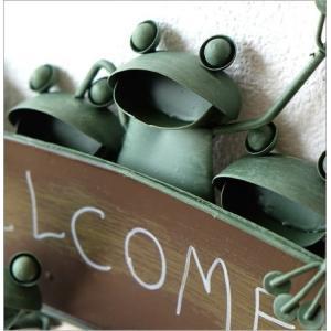 カエル 壁掛け 吊り下げ 置物 玄関 ブリキ グッズ 雑貨 オブジェ サイン Welcome おしゃれ かわいい インテリア ブリキのカエル ウェルカムハンギング|gigiliving|03