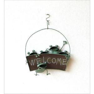 カエル 壁掛け 吊り下げ 置物 玄関 ブリキ グッズ 雑貨 オブジェ サイン Welcome おしゃれ かわいい インテリア ブリキのカエル ウェルカムハンギング|gigiliving|05