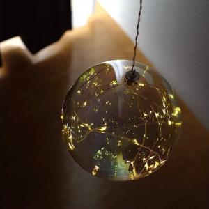 LEDライト ガラス オーナメント 飾り 装飾 オブジェ 吊り下げ ハンギングライト インテリア 電飾 イルミネーション 可愛い ハンギングLEDライト パールライト|gigiliving