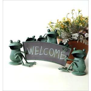 カエル 置物 玄関 ブリキ グッズ 雑貨 オブジェ サイン Welcome おしゃれ かわいい インテリア ブリキのカエル ウェルカムスタンド gigiliving 02