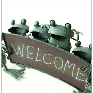 カエル 置物 玄関 ブリキ グッズ 雑貨 オブジェ サイン Welcome おしゃれ かわいい インテリア ブリキのカエル ウェルカムスタンド gigiliving 03