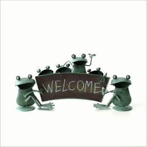 カエル 置物 玄関 ブリキ グッズ 雑貨 オブジェ サイン Welcome おしゃれ かわいい インテリア ブリキのカエル ウェルカムスタンド gigiliving 05