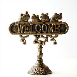 WELCOME サインプレート アンティーク風 サインボード カエル 置物 雑貨 かえる ウェルカムフロッグスタンド|gigiliving