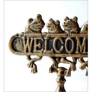 WELCOME サインプレート アンティーク風 サインボード カエル 置物 雑貨 かえる ウェルカムフロッグスタンド gigiliving 03