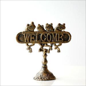 WELCOME サインプレート アンティーク風 サインボード カエル 置物 雑貨 かえる ウェルカムフロッグスタンド gigiliving 04