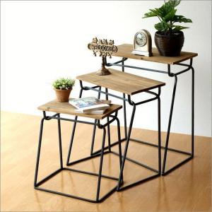 コンソールテーブル 木製 ネストテーブル サイドテーブル おしゃれ アンティーク ウッドとアイアンのコンソール3セット|gigiliving