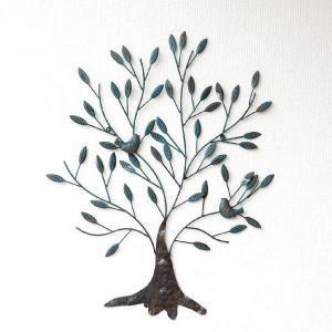 アイアン壁飾り アートパネル 壁掛け インテリア 木 リーフ ウォールデコレーション ウォールアート アイアンの壁飾り 2バードツリー|gigiliving