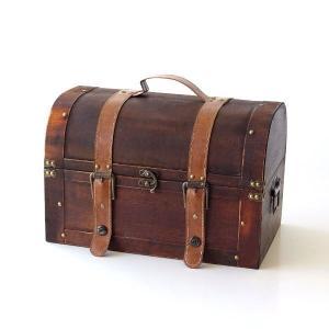 トレジャーボックス 宝箱 トランクボックス トランク 収納 小物入れ レトロ アンティーク 木箱 木製 インテリアトレジャーボックス|gigiliving