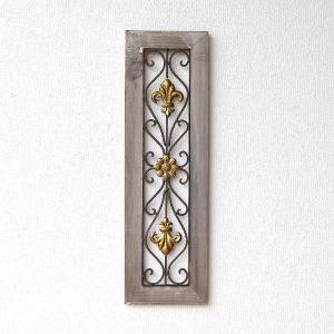 ウッディーな樹脂のフレームに入った アイアンアートの壁飾り シャビー風のフレームに良くマッチして 絵...