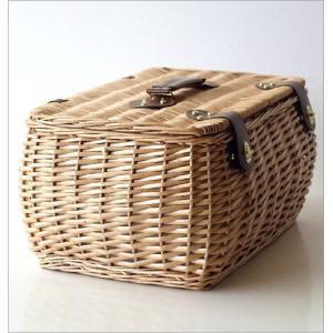 047483c4eb ... かご バスケット ふた付き おしゃれ 持ち手 ピクニック 柳 ウィロー 布 収納 蓋つき 手提げ かわいい ...
