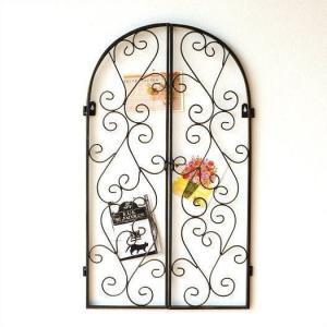 壁飾り アイアン 窓 ドア デザイン アートパネル ウォールパネル ウォールデコレーション 壁掛け インテリア アイアンオープンドアフレーム|gigiliving