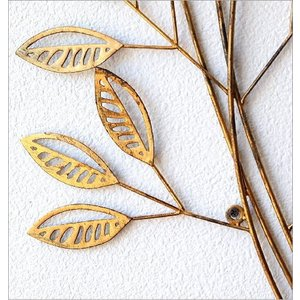 壁飾り アイアン おしゃれ 壁掛け インテリア 植物 グリーン ウォールアート ウォールデコ 壁面 装飾 飾り アンティークなゴールドリーフブランチ|gigiliving|04