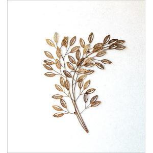 壁飾り アイアン おしゃれ 壁掛け インテリア 植物 グリーン ウォールアート ウォールデコ 壁面 装飾 飾り アンティークなゴールドリーフブランチ|gigiliving|05