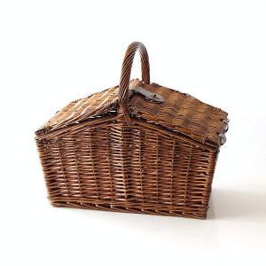 バスケット かご ふた付き おしゃれ 持ち手 ピクニック 柳 ウィロー 軽量 軽い 収納 蓋つき 手提げ ピクニックバスケットB|gigiliving