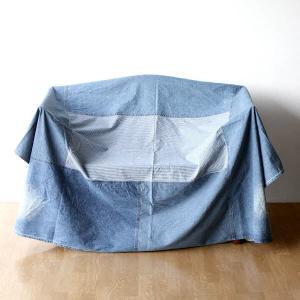 マルチカバー ソファー ベッド おしゃれ 長方形 ソファーカバー 敷物 綿100% パッチワークデニムカバー|gigiliving