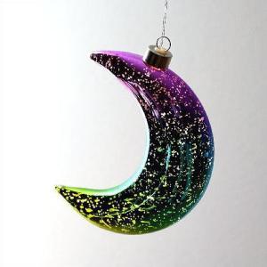 LEDライト ガラス 月 ムーン オーナメント 飾り 装飾 オブジェ 吊り下げ ハンギングライト イルミネーション かわいい ハンギングLEDライト ムーンライトA|gigiliving