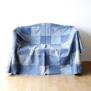 マルチカバー ソファー ベッド おしゃれ 長方形 ソファーカバー 敷物 綿100% パッチワークデニムカバー ブロック|gigiliving