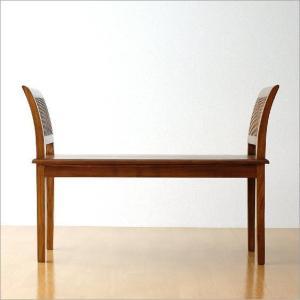 アウトレット ベンチ 木製 無垢 椅子 チェア 腰掛け おしゃれ ウッドベンチ 室内 リビング家具 玄関 アジアン家具 チーク二人掛けベンチの写真