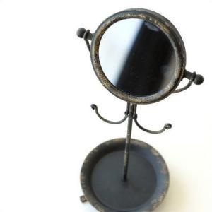 鏡 卓上ミラー アンティーク レトロ スタンドミラー アクセサリースタンド クラシック 机上 小さい ミニ 丸型 (アウトレット)シャビーな卓上サークルミラー