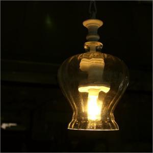 ペンダントライト LED アンティーク レトロ ガラス おしゃれ かわいい シーリングライト 1灯 ペンダントランプ LEDムーディーランプ B|gigiliving