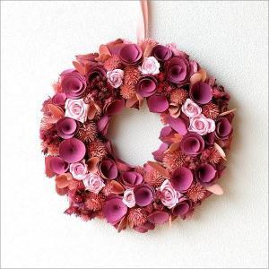 リース ドライフラワー 玄関 飾り ナチュラル 造花 おしゃれ 壁掛け インテリア 壁飾り ウォールデコ 春 ドライフラワーリース ピンクヴァイオレット