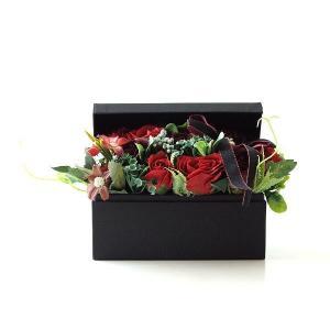 ソープフラワー ボックス ギフト アレンジメント 薔薇 バラ ローズ 造花 贈り物 おしゃれ お祝い 誕生日 プレゼント ソープフラワーボックスアンティークレッド|gigiliving