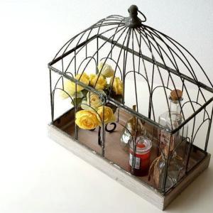 お気に入りの小物や花鉢など 飾って楽しむ、バードゲージです  アンティークな雰囲気のペイントで 扉の...