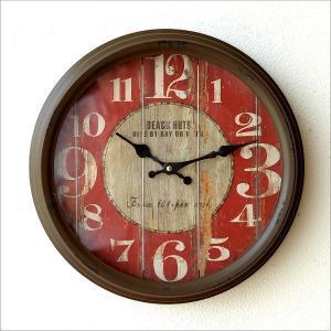 壁掛け時計 壁掛時計 掛け時計 掛時計 アンティーク ヴィンテージ クラシック おしゃれ レトロ ビンテージ アンティークなウォールクロック シャビーレッドL