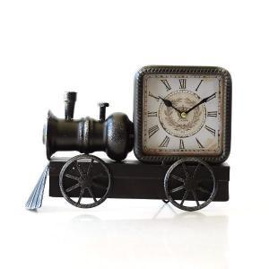 置き時計 置時計 おしゃれ アンティーク レトロ アナログ 機関車 ユニーク デザイン トレインスタンドクロック|gigiliving