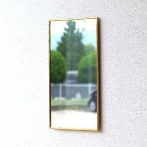 鏡 壁掛けミラー アンティーク レトロ シンプル おしゃれ ウォールミラー 真鍮 ゴールド 長方形 20×40cm 薄型 日本製 アンティークな真鍮のウォールミラーA|gigiliving