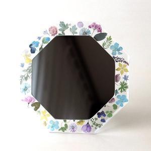 鏡 八角ミラー 八角形 壁掛け 卓上 おしゃれ かわいい 可愛い 風水 花 フラワー フローラルフレーム八角ミラー|gigiliving