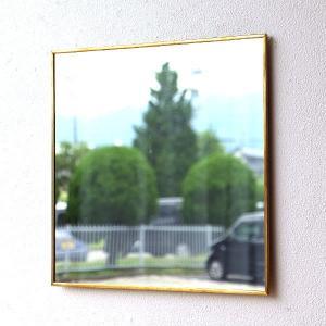 鏡 壁掛けミラー アンティーク レトロ シンプル おしゃれ ウォールミラー 真鍮 ゴールド 正方形 40×40cm 薄型 日本製 アンティークな真鍮のウォールミラーB|gigiliving