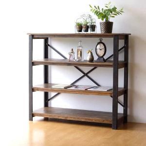棚 本棚 飾り棚 飾棚 アイアン ウッドラック 木製 アンティーク 家具 おしゃれ ヴィンテージ シャビーシックなコンソールシェルフ4段|gigiliving