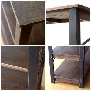 棚 本棚 飾り棚 アイアン ウッドラック 木製 アンティーク 家具 おしゃれ ヴィンテージ シャビーシックなコンソールシェルフ4段|gigiliving|05