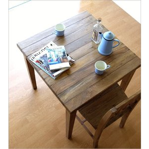 ダイニングテーブル 75×75 正方形 2人用 二人用 木 ウッドテーブル おしゃれ シャビー レトロ アンティーク ナチュラル シャビーシックなスクエアテーブル gigiliving 07