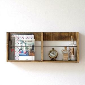 ウォールラック 壁掛け ウォールシェルフ 木製 マガジンラック 飾り棚 飾棚 シャビーシックなダブルラック|gigiliving