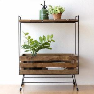ウッドラック 棚 シェルフ 木製 アイアン すのこ 収納家具 サイドテーブル サイドラック ボックス レトロ アンティーク シャビーシックなラックテーブル|gigiliving